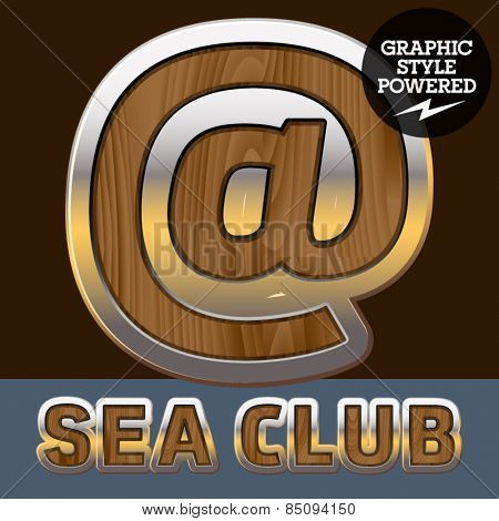 Vector set of elite old styled font in sea club theme. Symbols
