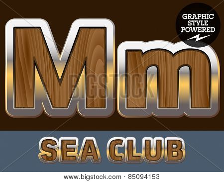 Vector set of elite old styled font in sea club theme. Letter M