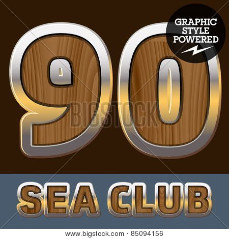 Vector set of elite old styled font in sea club theme. Numbers 9 0