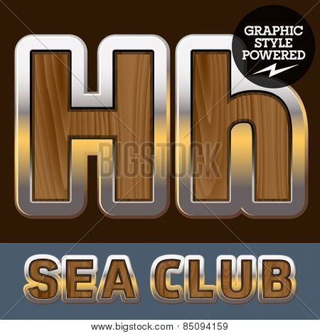 Vector set of elite old styled font in sea club theme. Letter H