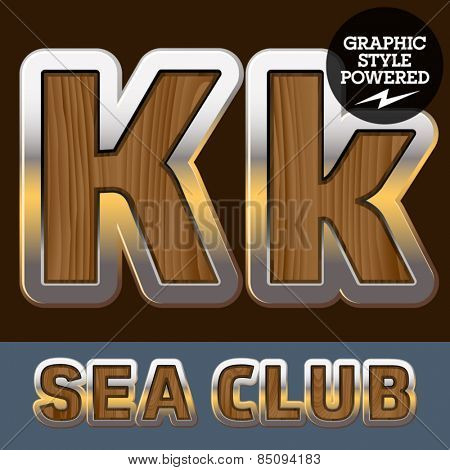 Vector set of elite old styled font in sea club theme. Letter K