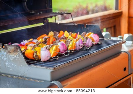 Skewers with shish kabob are cooking on a grill