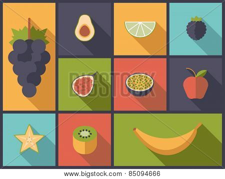 Fruit Flat Icons Vector Illustration. Flat design illustration with various fruit icons.