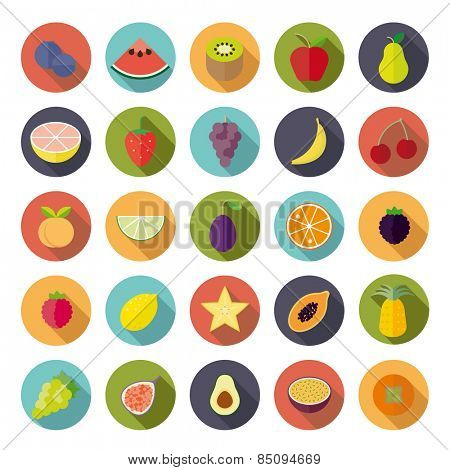 Flat Design Fruit Vector Icon Set. Collection of 25 fruit icons in circles, flat design, long shadow.
