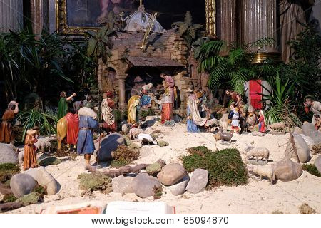 GRAZ, AUSTRIA - JANUARY 10, 2015: Nativity scene, creche, or crib, birth of Jesus in Graz Cathedral dedicated to Saint Giles in Graz, Styria, Austria on January 10, 2015.