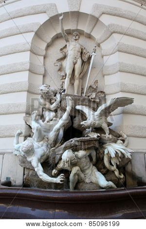 VIENNA, AUSTRIA - OCTOBER 10: The forces on land fountain at the Hofburg in Vienna, Austria on October 10, 2014.