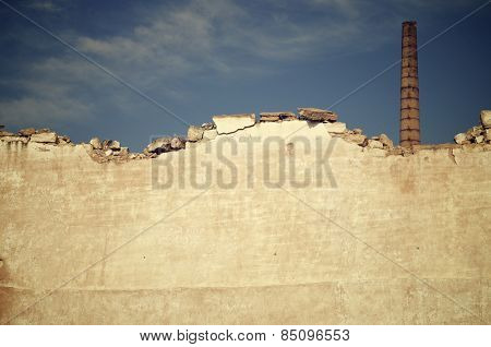 Brick smokestack in an old abandoned factory, Spain.
