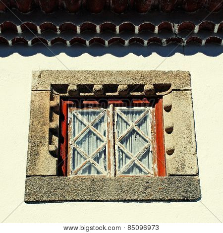Old Window In White Rural House, Portugal.