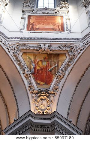 SALZBURG, AUSTRIA - DECEMBER 13: Saint Matthew the Evangelist, fragment of the dome in Salzburg Cathedral on December 13, 2014 in Salzburg, Austria.
