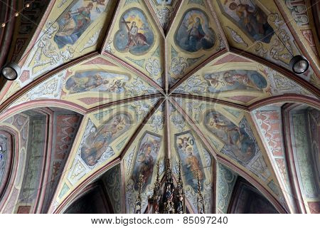 ST. WOLFGANG, AUSTRIA - DECEMBER 14: Frescoes on the ceiling of Parish church in St. Wolfgang on Wolfgangsee in Austria on December 14, 2014.