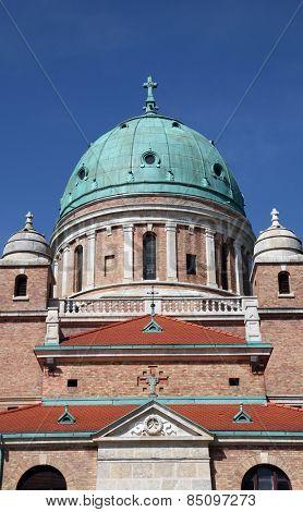 ZAGREB, CROATIA - APRIL 29: Church of Christ the King, Mirogoj cemetery in Zagreb, Croatia on April 29, 2012.