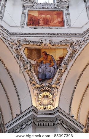 SALZBURG, AUSTRIA - DECEMBER 13: Saint Mark the Evangelist, fragment of the dome in Salzburg Cathedral on December 13, 2014 in Salzburg, Austria.