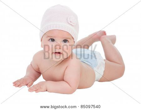 Adorable baby girl with wool hat isolated on a white background