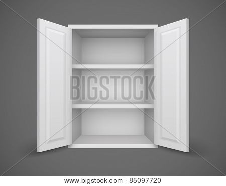 Empty box with open doors and bookshelves nothing inside. Eps10 vector illustration