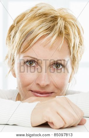 Portrait of nice, forty years old woman