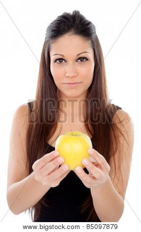 Attractive young woman with brackets eating a apple isolated on a white backgroung