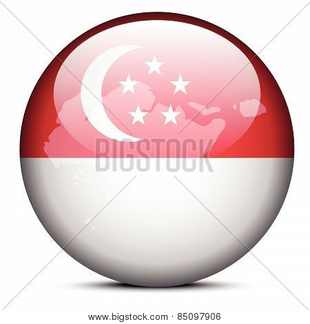 Map On Flag Button Of Republic Singapore