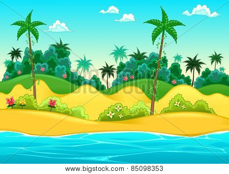 Landscape on the seashore. Vector cartoon illustration