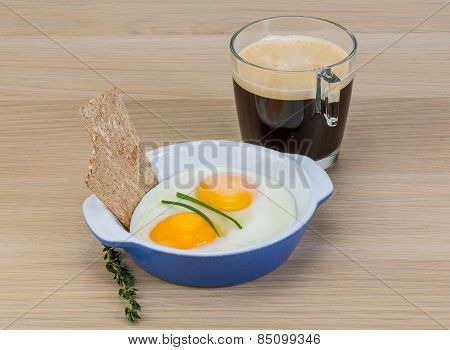 Breakfast With Eggs And Coffee