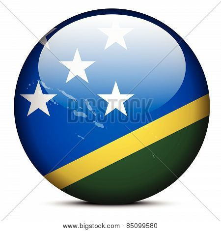 Map On Flag Button Of Solomon Islands