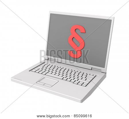 Laptop with paragraph sign on the screen isolated on white.