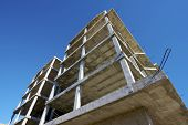 pic of reinforcing  - Reinforced concrete slabs of a residential building under construction - JPG