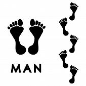 pic of human toe  - Trail of black human bare footsteps isolated on white background vector - JPG