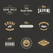 picture of sushi  - Sushi Rolls Sashimi Retro Vintage Labels Hipster Logo design vector typography lettering templates.  Old style elements, logos, logotypes, label, badges and symbols for Japanese restaurants & Cafe - JPG
