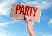 pic of bachelor party  - Party card with sky background - JPG