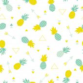 foto of tropical food  - Seamless geometric summer pineapple cute tropical fruit theme illustration arrow background pattern in vector - JPG