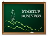 pic of spaceships  - Startup business text with spaceship drawn on blackboard - JPG