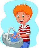 stock photo of wash-basin  - Vector illustration of Cartoon boy washing hand - JPG