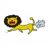 image of fart  - retro comic book style cartoon farting lion - JPG