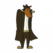 stock photo of trench coat  - retro comic book style cartoon man in hat and trench coat - JPG