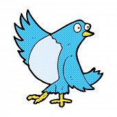 stock photo of bluebird  - retro comic book style cartoon dancing bluebird - JPG
