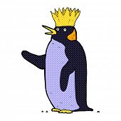 picture of emperor  - retro comic book style cartoon emperor penguin waving - JPG