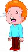 foto of crying boy  - Vector illustration of Cartoon a young boy crying - JPG