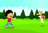 pic of frisbee  - Vector illustration of Cartoon boy playing Frisbee with his dog - JPG