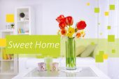 pic of vase flowers  - Fresh spring flowers in vase on home interior background and space for your text - JPG