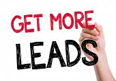 stock photo of clientele  - Get More Leads written on the wipe board - JPG