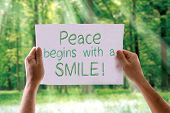 pic of feeling better  - Peace Begins with a Smile card with nature background - JPG