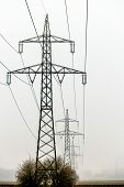 picture of power transmission lines  - a power line poles for electricity - JPG