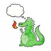 picture of fire-breathing  - cartoon fire breathing dragon with thought bubble - JPG
