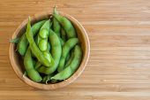 stock photo of soy bean  - Japanese green soy bean on the wooden table - JPG