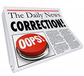 picture of forgiven  - Correction word in a newspaper headline to illustrate a fix or revision to an error or mistake in a report in a news article or story - JPG