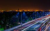 foto of traffic light  - Night highway with car traffic - JPG