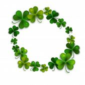 picture of shamrocks  - Saint Patricks Day vector background frame with realistic shamrock leaves greeting card - JPG