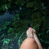 image of cenote  - Fish spa therapy with female legs in mexican cenotes - JPG
