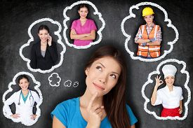 stock photo of future  - Education and career choice options  - JPG