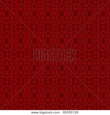 Seamless vintage Chinese window tracery square geometry line cross pattern background.